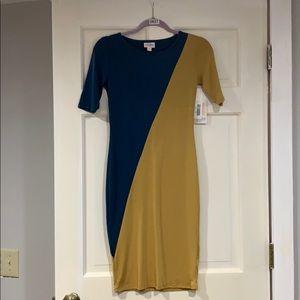 LuLaRoe blue and gold Julia dress XXS NWT